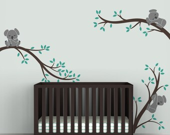 Kids Wall Decal Dark Brown and Turquoise Baby Room Decor - Koala Tree Branches by LittleLion Studio