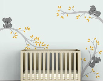Kids Wall Decals Kids Tree Room Decor Gray and Yellow - Koala Tree Branches by LittleLion Studio