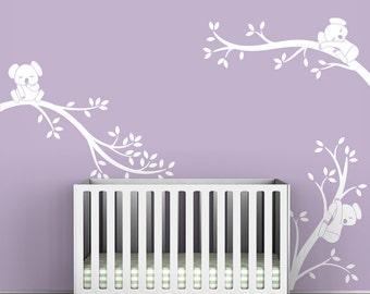 White Tree Kids Wall Decal Baby Nursery Wall Sticker Tree Wall Decal Decor - Koala Tree Branches by LittleLion Studio