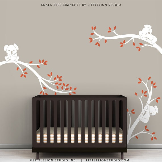White Tree Wall Decal Baby Nursery Wall Decor Orange Leaves Baby Room - Koala Tree Branches by LittleLion Studio