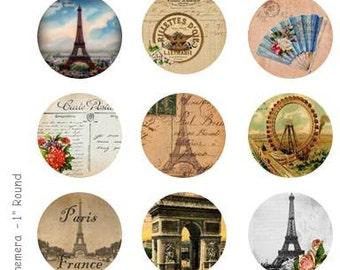 Paris Ephemera - 4 x 6 Digital Collage Sheet  - 1 inch Round Circles - INSTANT DOWNLOAD