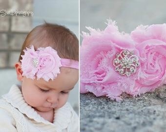Shabby Chic Headband with rhinestone center, pink, infant, newborn, toddler