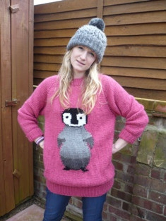 Free Knitting Pattern For Baby Cardigan : Penguin jumper baby penguin chunky knitting by BernieBeeKnits