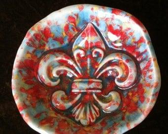 Fleur de Lis multi color handmade Pottery Bowl