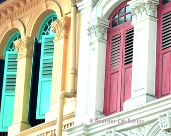 Singapore Photography - Green and Pink Windows - Asia - Asian Fine Art Photography