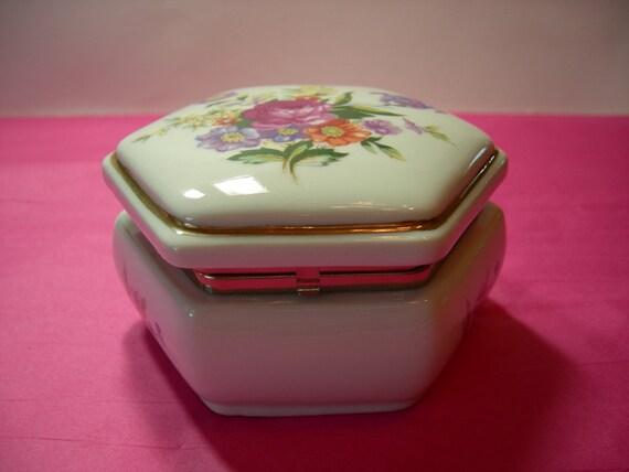 Vintage Colibri Porcelain Music Box Trinket Box Jewelry Box