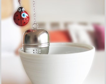 Mystic Tea Strainer, Tea Ball Ladybug with Evil Eye Bead, Gift under 20
