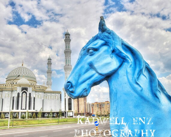 "Fine Art Kazakh Photography ""Blue Horse White Mosque"" Astana Kazakhstan 8x10 Fine Art Print Central Asia Photo Travel Picture Quirky Decor"