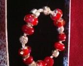 Cherry Red European Charm Bracelet