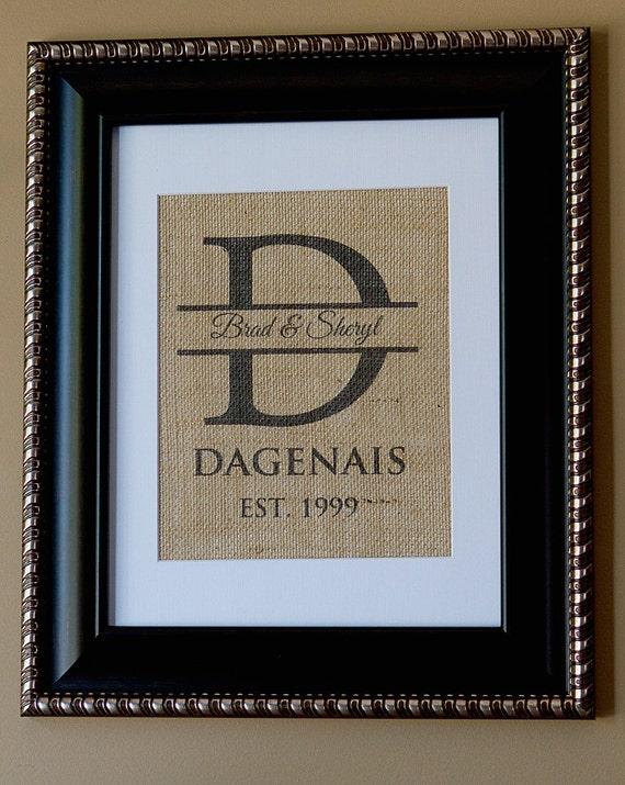 Items similar to classic personalized burlap monogrammed for Classic housewarming gifts