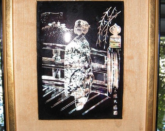 Abalone Shell Signed Etching of  Geisha on a Bridge Framed