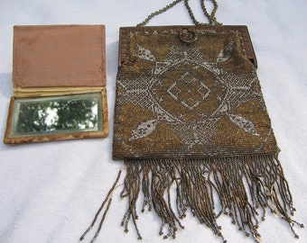 Antique French Steel Cut Beaded Purse with Mirror Vintage on Eclectic Depot