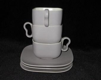 REDUCED - THREE Gladding McBean GMB/Franciscan Metropolitan Gray and White Cup & Saucer Sets