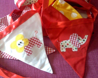 Circus Bunting in shades of red - elephants and lions. Approximately 5m.
