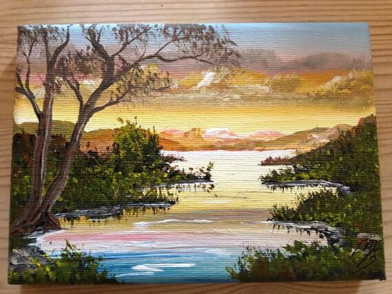 Peaceful Dawn. An Acrylic painting on a mini Canvass. Size 18x13x2 cm