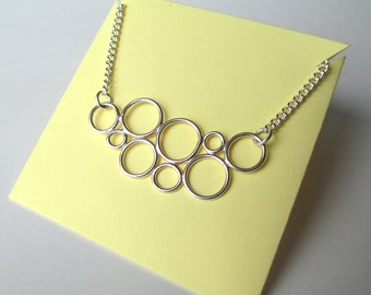 Contemporary Bubbles Circles Pendant Necklace - handmade sterling silver