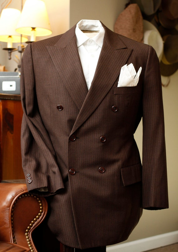 Men's Brown Double Breasted Suit 40R SALE