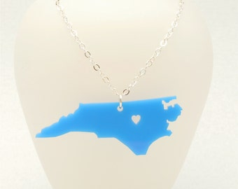 Acrylic North Carolina State Necklace, Custom Made LDR Gift, Going Away Gift, Long Distance Relationship Necklace, Personalized Jewelry