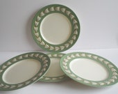 SALE Vintage Lenox Bone China Tiffany & Co Plates Green with Gold Trim Holiday Gift