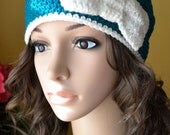 Women Teen Crochet Bow  Hat in REAL TEAL Soft White
