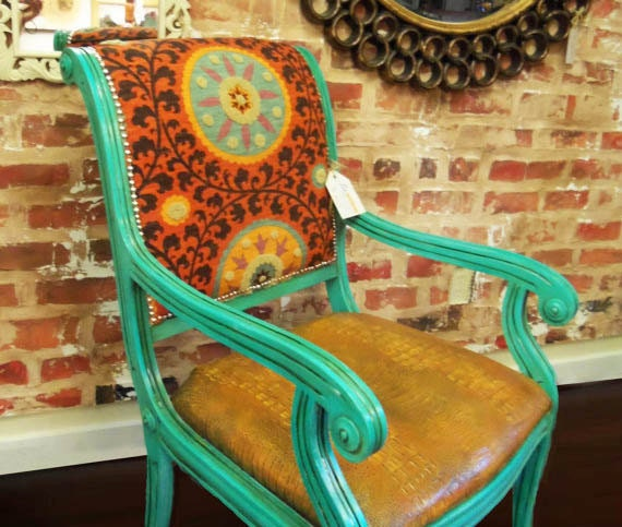 Suzani & faux Crocodile revamped antique Side Chair