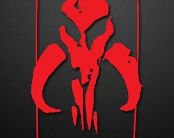 Mandalorian Bantha Skull (Mythosaur) custom vinyl Decal/Sticker (White or Red)
