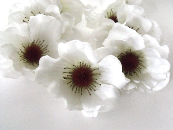 9 Silk flower heads artificial white anemone silk floral supply commercial supply