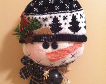 Primitive Country Snowman Wall Hanging with Bell