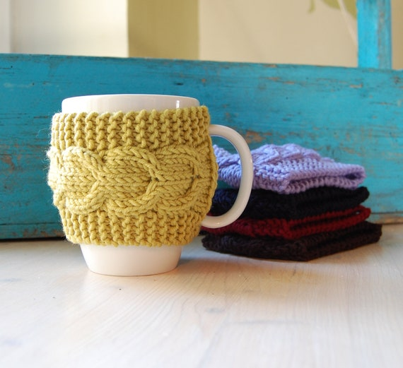 Knit coffee cup cozy with cable pattern hand knitted by ...
