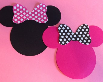 "30 2.5"" Hot Pink and Black Minnie Mouse Head Silhouettes  Die Cut  with Polka Dot Bows"