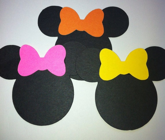 "30 2.5"" Minnie Mouse Head Silhouettes Die Cut Black Cutouts with any ..."