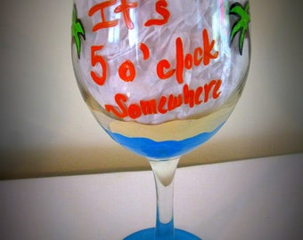 Items similar to RX: Wine Qd Hand Painted 20 oz Wine Glass