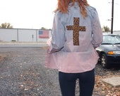 Acid Wash Graveyard Button-Up with Leopard Print Cross