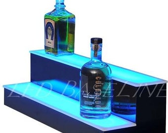 "32"" 2 Step Led Shelf Great for Bar Home Display Glass Bottles"