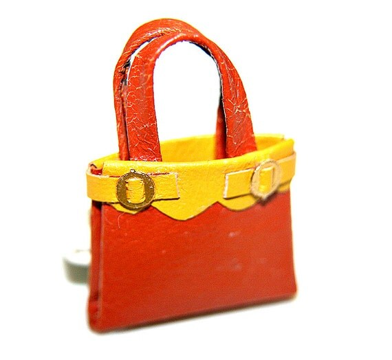 Miniature orange and yellow  leather tote bag 12th scale doll house