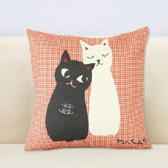 Lovely MR.CAT12  number cat watch cotton and linen pillow case--cushion cover --throw pillow cover18""