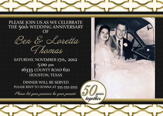 Fiftieth Wedding Anniversary Invitations: Custom Gold Black And Ivory 50th Anniversary Photo Invitation