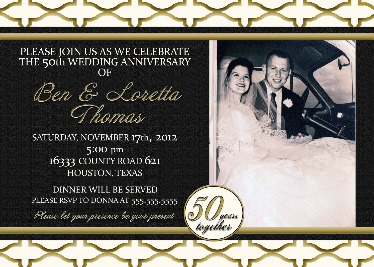 Custom Gold Black And Ivory 50th Anniversary Photo Invitation