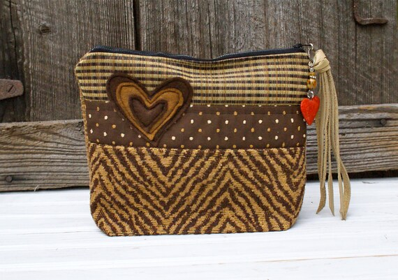 Animal Stripe Brown Bag Clutch Vintage Upholstery Keepsake Patchwork Recycled Heart Leather