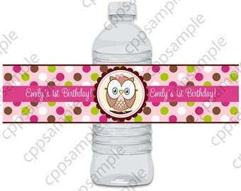 Owl look whoos, Look Whoos Turning one Water Bottle Label - Digital File