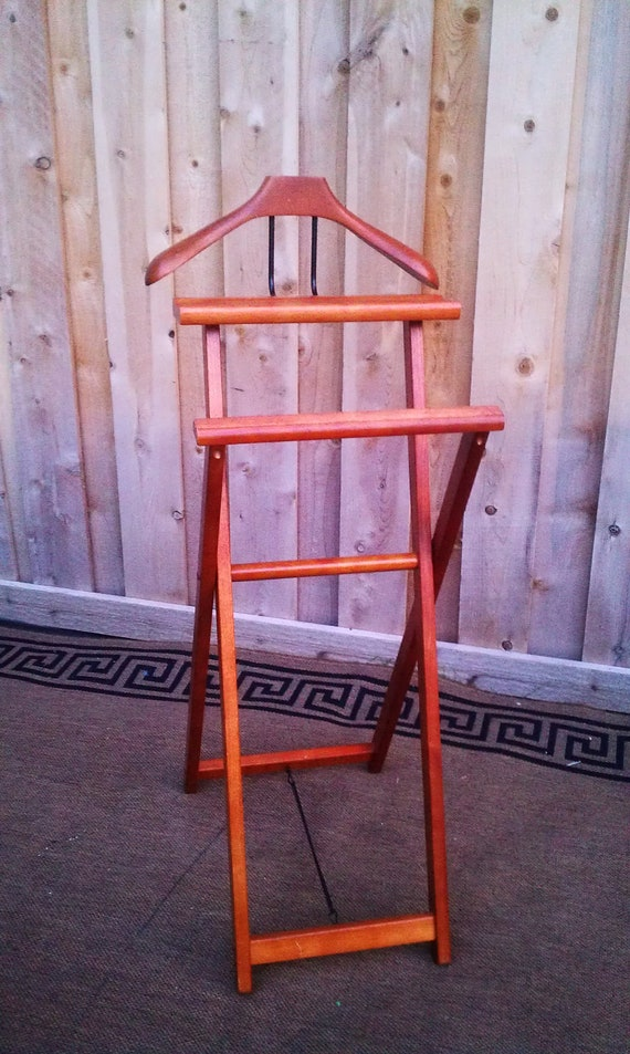Vintage Wood Clothes Valet Wardrobe Stand Executive Suit