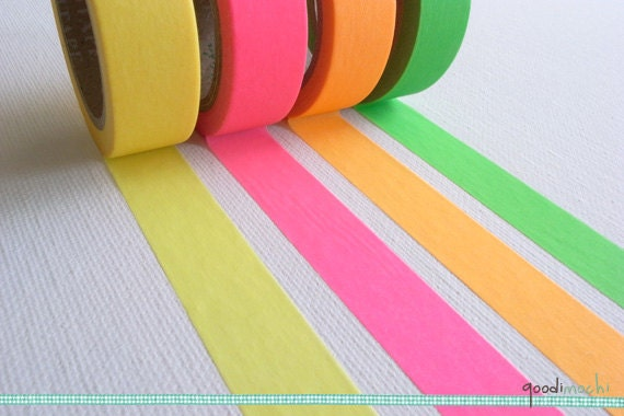 Fluorescent Color Washi Tape / Masking Tape // Your Choice of Color - Yellow, Pink, Orange, Green // 10m, 1 Roll