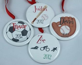 Personalized Sports Ornament, Soccer, Baseball, Basketball, Football, Hockey, Running, any sport available