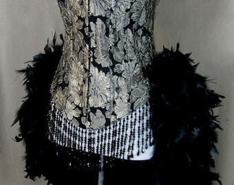 Size M-Champagne Brocade Showgirl Saloon Girl Moulin Burlesque Costume w/Feather Train