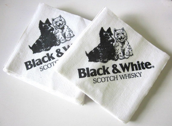 50 vtg Black White Scotch Whisky paper COCKTAIL NAPKINS scottie dog ...