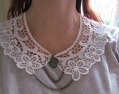 Peter Pan Lace Collar white with antique bronze chain and patina heart - Melissa