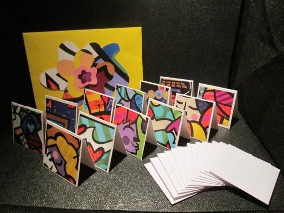 Reserved for Karen OOAK Brito Calendar Handmade Colorful Mini Blank Notecards One Dozen