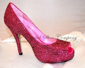 Swarovski crystal pink peeptoe sandal heel court shoes 3,4,5,6,7,8