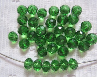 25  Christmas Green Faceted Rondelle Crystal Beads   4mm x 6mm