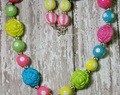 Pastel Colored Chunky Beaded Bubblegum Necklace for Girls or Womens